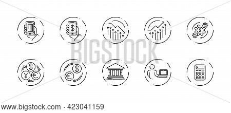 10 In 1 Vector Icons Set Related To Money Trade Theme. Black Lineart Vector Icons Isolated On Backgr