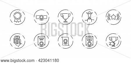 10 In 1 Vector Icons Set Related To Winner Award Theme. Black Lineart Vector Icons Isolated On Backg