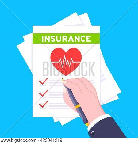 Hand Signs Medical Insurance Claim Form With File Paper Sheets Flat Style Design Vector Illustration