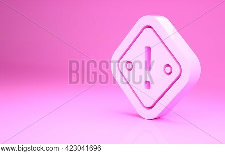 Pink Exclamation Mark In Triangle Icon Isolated On Pink Background. Hazard Warning Sign, Careful, At