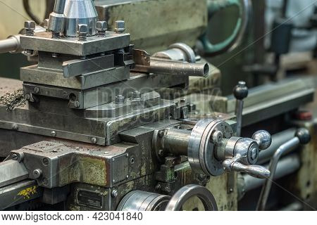Machine Tool For Cutting And Grinding Metal Products, Metalwork Equipment In Factory.