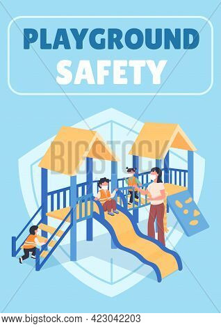 Playground Safety Poster Flat Vector Template. Teacher With Kids In Masks. Brochure, Booklet One Pag