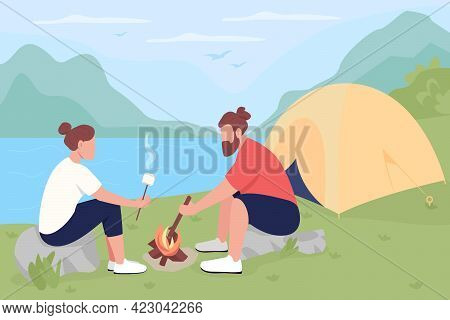 Camping In Countryside Flat Color Vector Illustration. Tourists Roasting Marshmallows On Bonfire. Co