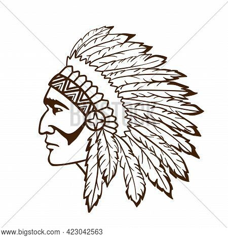 American Indian Chief. Logo Or Icon. Vector Illustration Indian Leader With Feathers On His Head. Wa