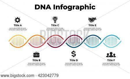 Dna Infographic. Vector Illustration Slide Template. Scientific Medical Research Concept. 6 Options