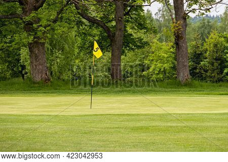 Golf Green With Flag In Spring Nature - Czech Republic, Europe