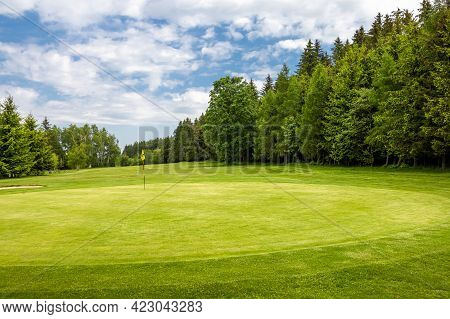Golf Green With Flag In Spring Nature Under Blue Sky - Czech Republic, Europe