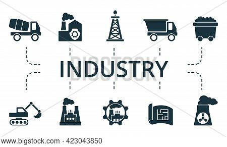 Industry Icon Set. Contains Editable Icons Theme Such As Power Industry, Coal Mining, Product Manage