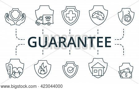 Guarantee Icon Set. Contains Editable Icons Theme Such As Life Insurance, Property Insurance, Vehicl