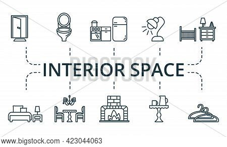 Interior Space Icon Set. Contains Editable Icons Theme Such As Fireplace, Table Lamp, Office Table A