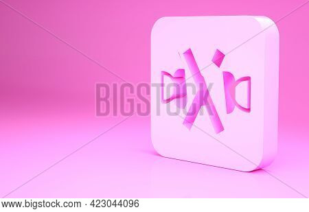 Pink No Sweets And Candies Prohibition Icon Isolated On Pink Background. No Candy Forbidden Symbol.