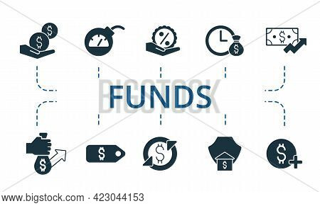 Funds Icon Set. Contains Editable Icons Theme Such As Inflation, Redemption, Valuation And More.