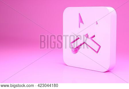 Pink Speaker Mute Icon Isolated On Pink Background. No Sound Icon. Volume Off Symbol. Minimalism Con