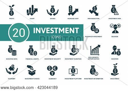 Investment Icon Set. Contains Editable Icons Investment Theme Such As Chart, Increase Cost, Investme