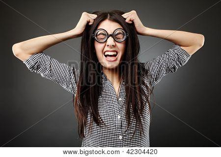 Closeup Female Geek