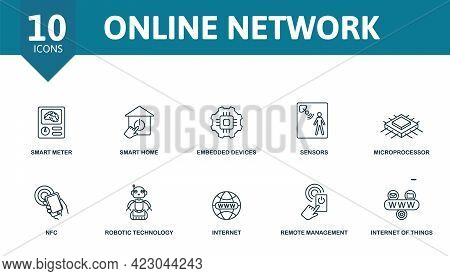 Online Network Icon Set. Contains Editable Icons Internet Of Things Theme Such As Smart Meter, Embed
