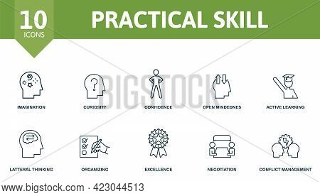 Practical Skill Icon Set. Contains Editable Icons Life Skills Theme Such As Imagination, Confidence,