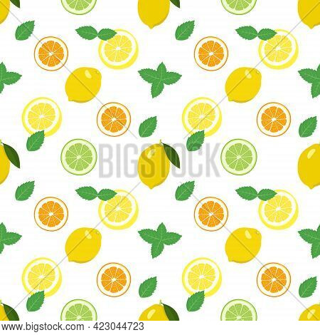 Seamless Bright Spring And Summer Pattern With Lemon, Tangerine, Orange And Lime And Mint Slices And