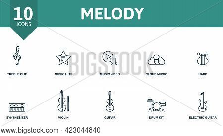 Melody Icon Set. Contains Editable Icons Music Theme Such As Treble Clef, Music Video, Harp And More