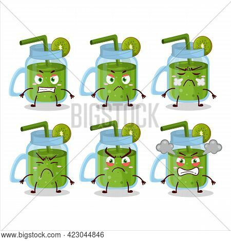 Kiwi Smoothie Cartoon Character With Various Angry Expressions