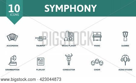 Symphony Icon Set. Contains Editable Icons Music Theme Such As Accordion, Music Player, Djembe And M