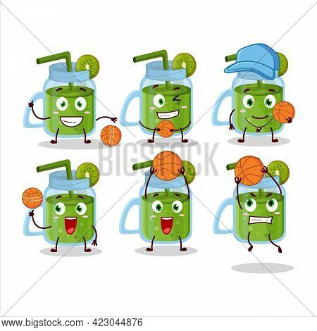 Talented Kiwi Smoothie Cartoon Character As A Basketball Athlete