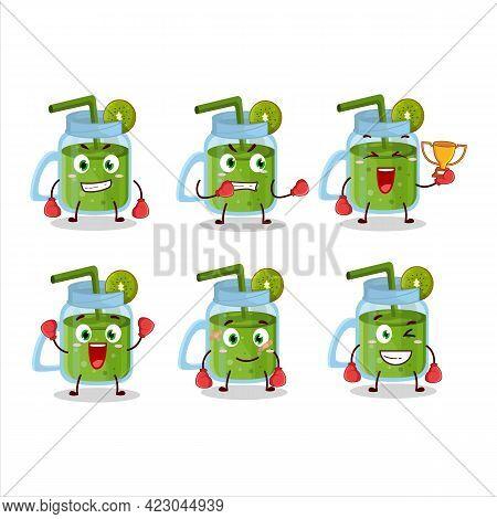 A Sporty Kiwi Smoothie Boxing Athlete Cartoon Mascot Design