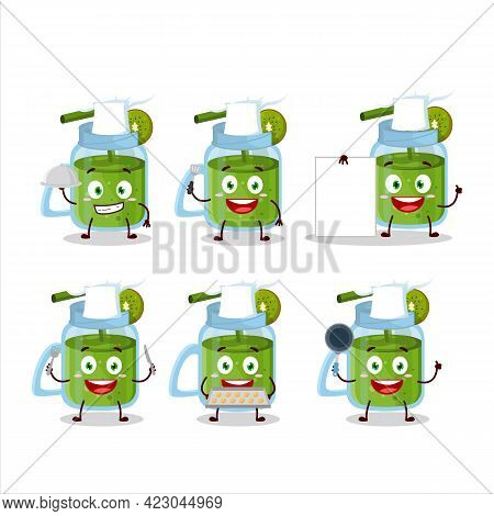 Cartoon Character Of Kiwi Smoothie With Various Chef Emoticons