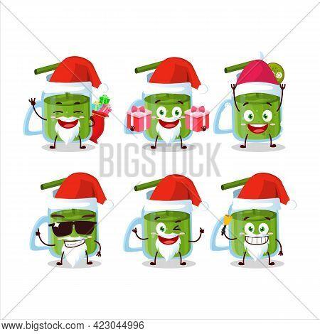 Santa Claus Emoticons With Kiwi Smoothie Cartoon Character