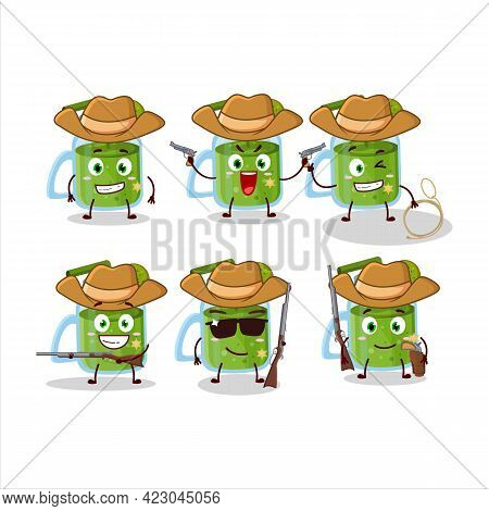 Cool Cowboy Kiwi Smoothie Cartoon Character With A Cute Hat