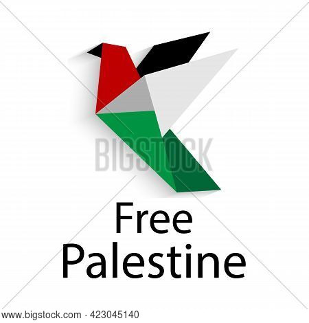 Free Palestine. Save Palestine Concept Vector Illustration. Stop War. Pigeon Of Freedom Flag Of Pale
