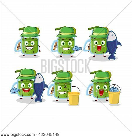 A Fisherman Kiwi Smoothie Cartoon Picture Catch A Big Fish