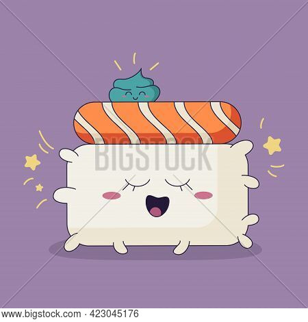 Cute Character Of Japanese Food, Smiling Sushi With Salmon And Wasabi On Top Of It. Kawaii Character