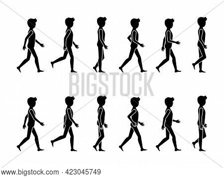 Walking Man Sequence Movements Vector Icon Pictogram Set. Stick Figure Male Moving Forward Silhouett