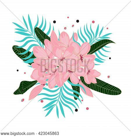 Bunch Of Pink Frangipani Flowers And Tropical Leaves On White Background. Isolated Bunch Of Flowers.