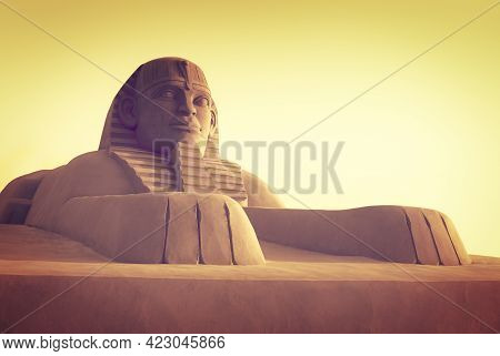 Egyptian Sphinx - Modern Sandy Sculpture In An Old Tradition Of Egypt. Egyptian Pharaons In Art, Tra