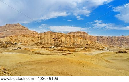 The Desert Landscape Of  Theban Necropolis With The Ancient Tombs, Built In Rocks, Luxor, Egypt.
