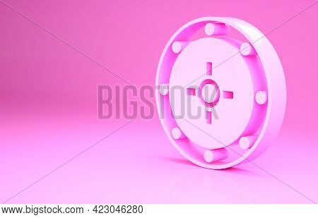 Pink Safe Icon Isolated On Pink Background. The Door Safe A Bank Vault With A Combination Lock. Reli