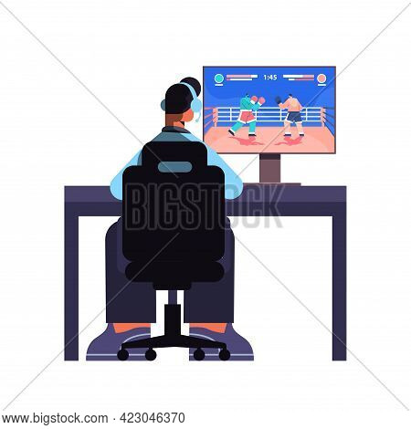 Professional Virtual Gamer Playing Online Video Game On His Personal Computer