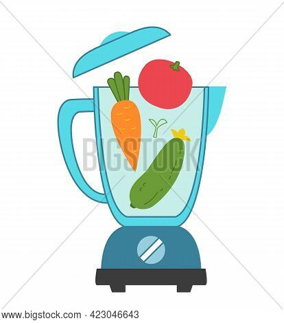A Blender Into Which Vegetables Are Poured - Cucumber, Tomato And Carrot. Colored Beautiful And Styl