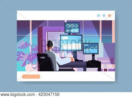 Man Trader Stock Market Broker Analyzing Charts Graphs And Rates On Computer Monitors At Workplace