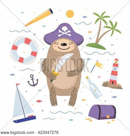 Cute Cartoon Sloth Pirate On White Isolated Background. Fabulous Funny Animal Against A Background O
