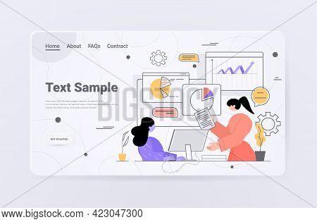 Businesspeople Analyzing Charts And Graphs Data Analysis Process Digital Marketing Planning Company