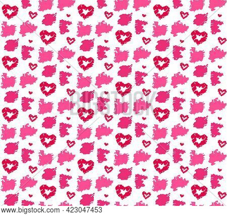 Red Seamless Pattern For Fashion Design. Love, Valentine Day Theme. Vector