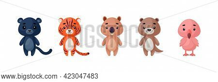 Cute Animals Set. Collection Funny Animals Characters For Kids Cards, Baby Shower, Birthday Invitati