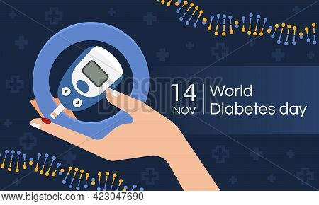 World Diabetes Day With Hand Hold Glucose Testing Blood Tool In Blue Circle On Dark Blue Cross Sign