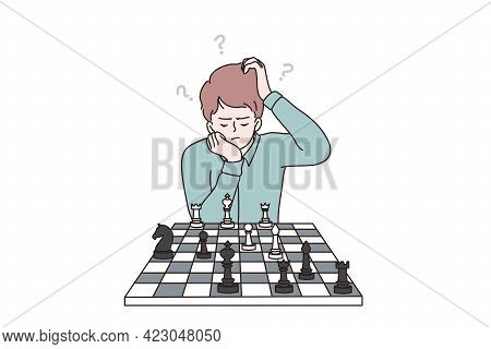 Intelligent, Smart Kids During Hobbies Concept. Clever Concentrated And Thinking Child Boy Cartoon C