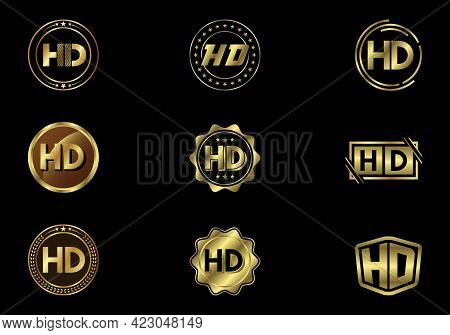 Golden Hd Video Resolution Icon Logo, High Definition Tv, Game Screen Monitor Display Label, Hd Labe