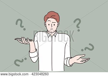 Unknown Phone Number Emotion Concept. Frustrated Young Man Cartoon Character Standing Looking Surpri
