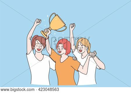 Winning, Success, Celebration Victory Concept. Group Of Smiling Happy Girls Team Cartoon Characters